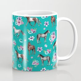 Horse Pattern, Floral Print, Turquoise, Little Girls Room, Horses Coffee Mug