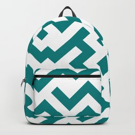 White and Teal Green Diagonal Labyrinth Backpack
