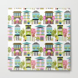 Boutiques and Downtown Buildings by Karen Fields Metal Print