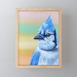 Glowing Blue Jay Bird Framed Mini Art Print