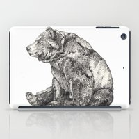 little mix iPad Cases featuring Bear // Graphite by Sandra Dieckmann