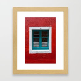 The blue window and the red wall Framed Art Print