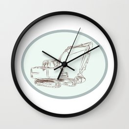 Mechanical Digger Excavator Oval Etching Wall Clock