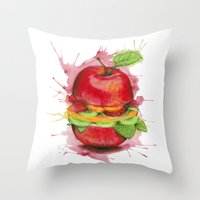 burger Throw Pillows featuring burger by JBdesign