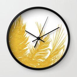 Gold Tropical Leaves II Wall Clock