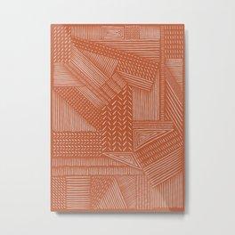 Mud Cloth / Orange Metal Print