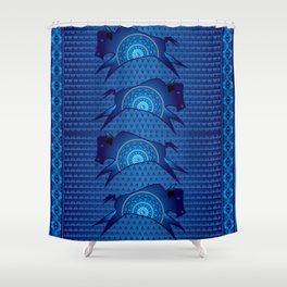 Buffalo Running (Blue) Shower Curtain