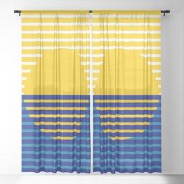 Yellow Split Sun Sheer Curtain