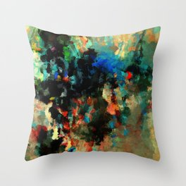 Colorful Landscape Abstract Painting Throw Pillow