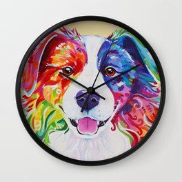 Rainbow Border Collie - Toby Wall Clock