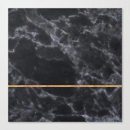 BLACK MARBLE GOLD STRIPE Canvas Print
