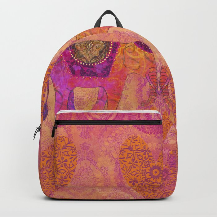 Elephants in Love Heart Art Backpack