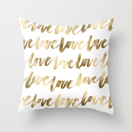 Gold Love Quote Pattern Typography Script 2 Throw Pillow