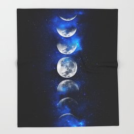 Phases of the Moon Blue Throw Blanket