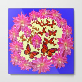 Blue & Yellow Butterflies  Pink Flowers Pattern Art Metal Print