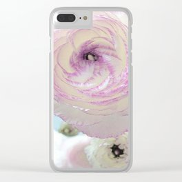 WHITE RANUNCULUS FLOWER Clear iPhone Case