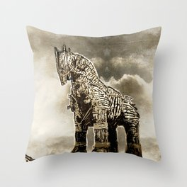 The TROJAN HORSE Throw Pillow