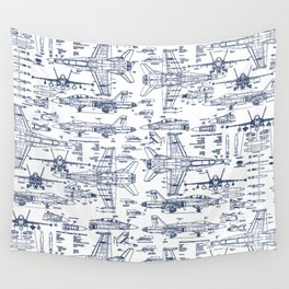 F-18 Blueprints // Blue Ink Wall Tapestry