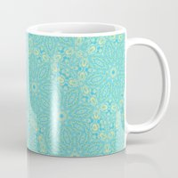 aelwen Mugs featuring Abstract pastel blue and yellow floral kaleidoscope by Wendy Townrow