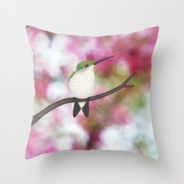 ruby throated hummingbird - female on pink bokeh Throw Pillow