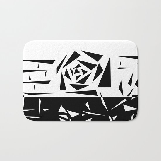 Abstract rose. black and white . 1 Bath Mat