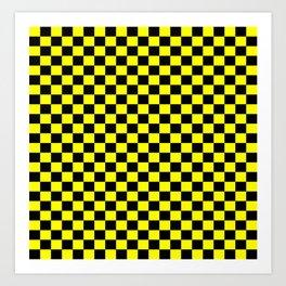 Yellow Black Checker Boxes Design Art Print