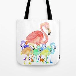 Family of Flamingos Watercolor Tote Bag