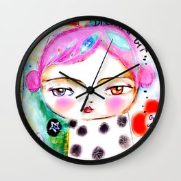 Dream a bit...every day! pink hair girl fish flowers Wall Clock