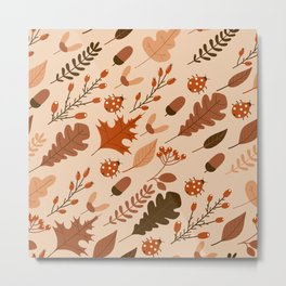 Autumn Leaves and Ladybugs Pattern Light Metal Print
