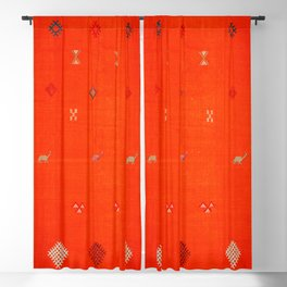 (N6) Vintage Orange Anthropologie Moroccan Artwork. Blackout Curtain