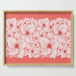 coral flower Serving Tray