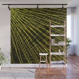 Many rays of golden light with symmetrical bright waves on black. Wall Mural