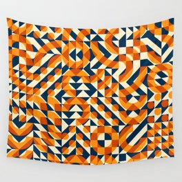 Orange Navy Color Overlay Irregular Geometric Blocks Square Quilt Pattern Wall Tapestry