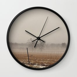 Two Trees in Fog Wall Clock