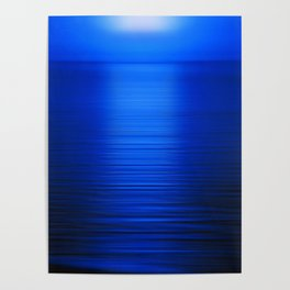 Sunset on the Water-Deep Blue Poster
