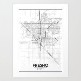 Minimal City Maps - Map Of Fresno, California, United States Art Print