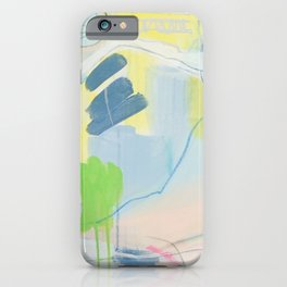 """""""on the side"""" abstract painting in teal, lime, yellow, gray, white, and pink iPhone Case"""