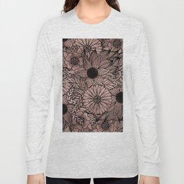 Floral Rose Gold Flowers and Leaves Drawing Black Long Sleeve T-shirt