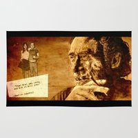 bukowski Area & Throw Rugs featuring Charles Bukowski - love version by ARTito