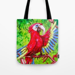 Tropical Parrot with Maracas  Tote Bag