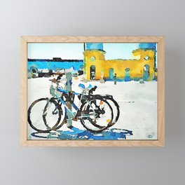 Pescara: bicycles with old and new station buildings Framed Mini Art Print