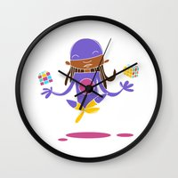 super hero Wall Clocks featuring Super Hero 3 by La Lanterne