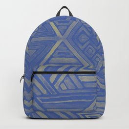 Mirror Pattern Tribal Style -Deep blue & yellow Backpack