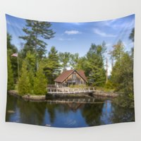 michigan Wall Tapestries featuring Michigan Cottage by davehare