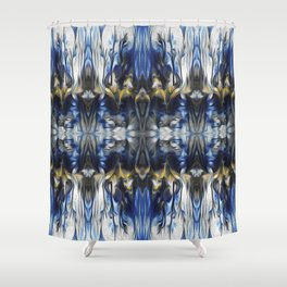Ornamental Pattern in white, blue and yellow Shower Curtain