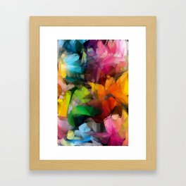 Dancing Rainbow Feathers Framed Art Print