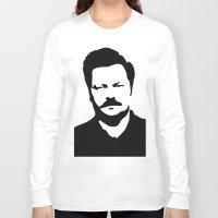 swanson Long Sleeve T-shirts featuring Ron Swanson by Bjarni Bragason