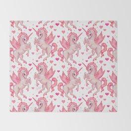 Pink Unicorn Pegasus Throw Blanket