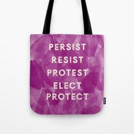 Persist & Resist Purple Watercolor & Marble Tote Bag