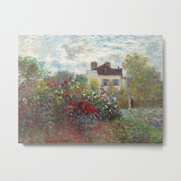 Claude Monet - The Artist's Garden in Argenteuil, A Corner of the Garden with Dahlias Metal Print